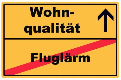 Schild Wohnqualitt Fluglrm